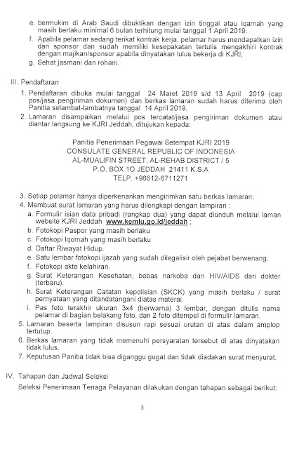 Penerimaan Calon Pegawai Setempat Konsulat Jenderal Republik Indonesia Jeddah Tahun 2019