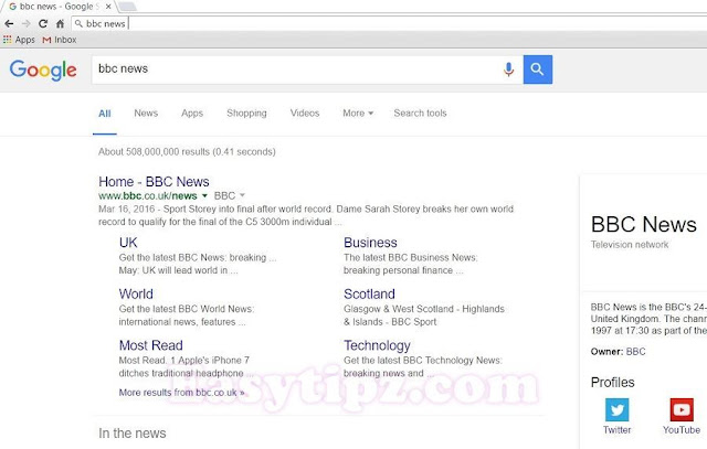 Type a keyword in Address Bar for quick searching