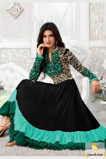 Bollywood actress Kriti Sanon black and light sea green chiffon anarkali dress online with discount for Diwali festival 2015