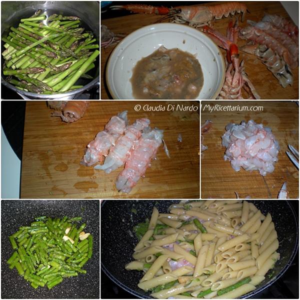 Penne con asparagi e scampi