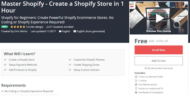 [100% Off] Master Shopify - Create a Shopify Store in 1 Hour| Worth 30$