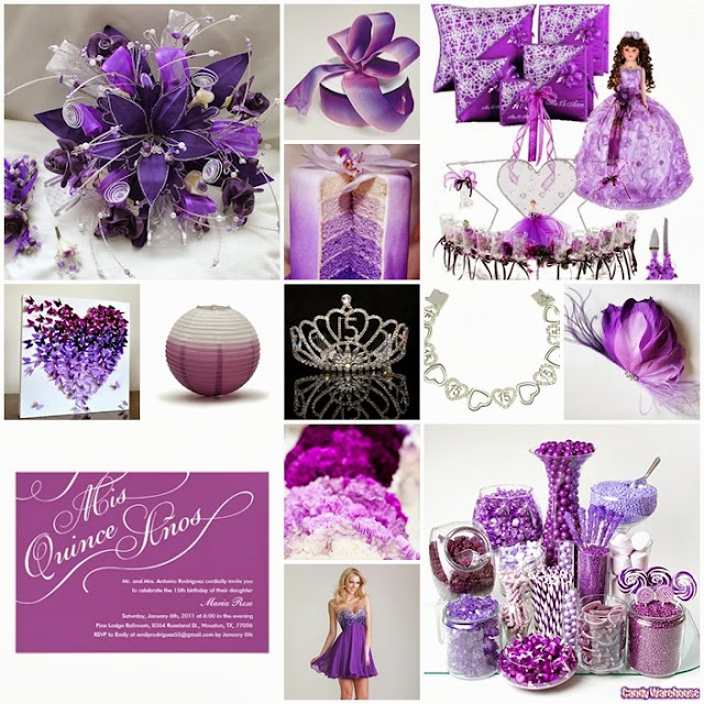 Ombre purple quinceanera sweet fifteen theme quince candles