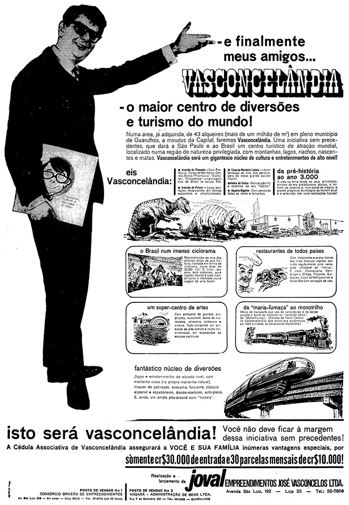 Campanha do parque de diversões Vasconcelândia apresentado nos anos 60 para angariar fundos