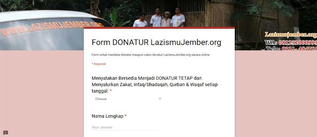 Form ONLINE Donatur Lazismu Jember