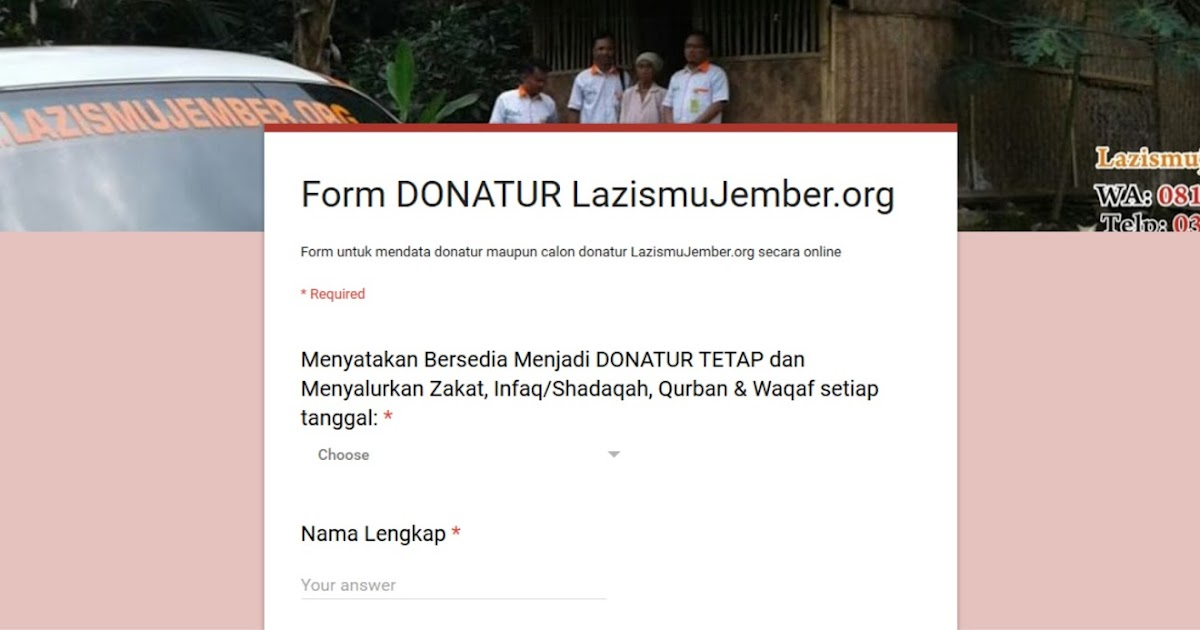 Formulir Online Donatur Calon Donatur Lazismu Jember