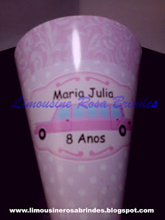 Cone de Guloseimas Limousine Rosa, cone de guloseimas, limousine rosa, tema limousine rosa, brinde limousine rosa, lembrancinha limousine rosa, festa limousine rosa