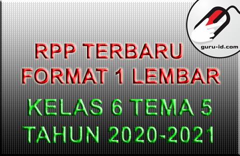 gambar rpp kelas 6 tema 5 terbaru 2020-2021