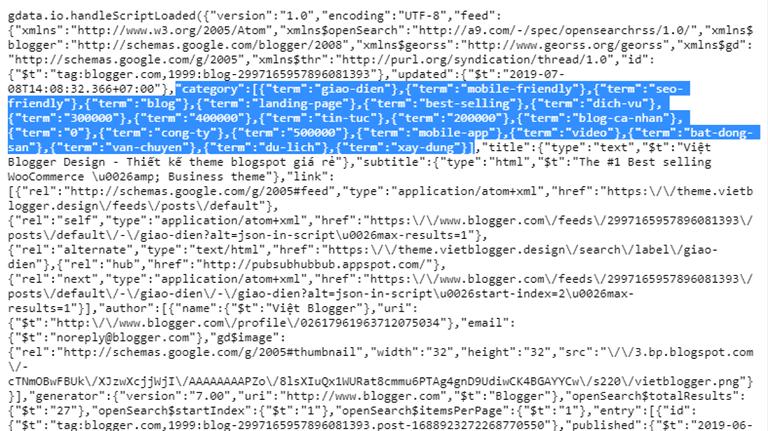 Cách lấy danh sách Label bài viết từ nguồn cấp feeds