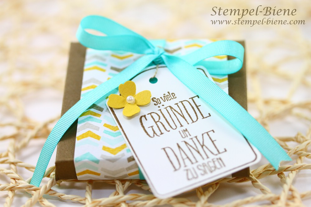 Stampin Up Sale a bration 2015, Stampin Up Stempelparty, Schnelle Schokoladenverpackung, Blog Candy Stempel-Biene, Stampin Up Bestellen