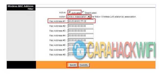 Filter Mac Address Pengguna WIFI kamu