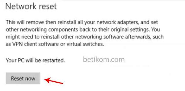 mengatasi laptop tidak bisa konek wifi dengan network reset