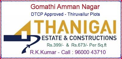Thiruvallur Plots - For Sale - Near Collector Office