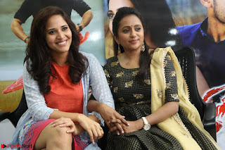 Actress Suma in Black Salwar Suit and Anusuya in orange Dress at winner movie press meet part 2 February 2017 (75).JPG