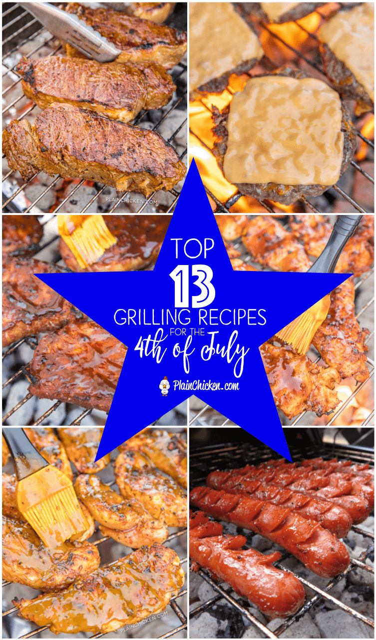 Top 13 Grilling Recipes for the 4th of July - pork, chicken, steak, burgers and hot dogs. Something for everyone!