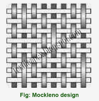 Mockleno weaves are generally produced in combination with plain, twill, satin or other simple weaves or even with brocade figuring, to produce striped fabrics.