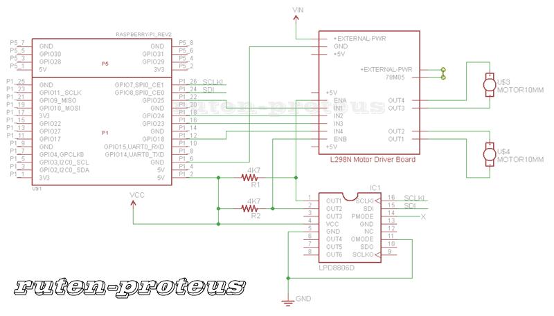 LPD8806 與 L298N 馬達驅動模組接線圖