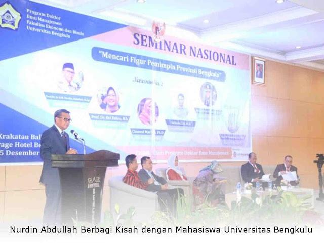Nurdin Abdullah Berbagi Kisah dengan Mahasiswa Universitas Bengkulu