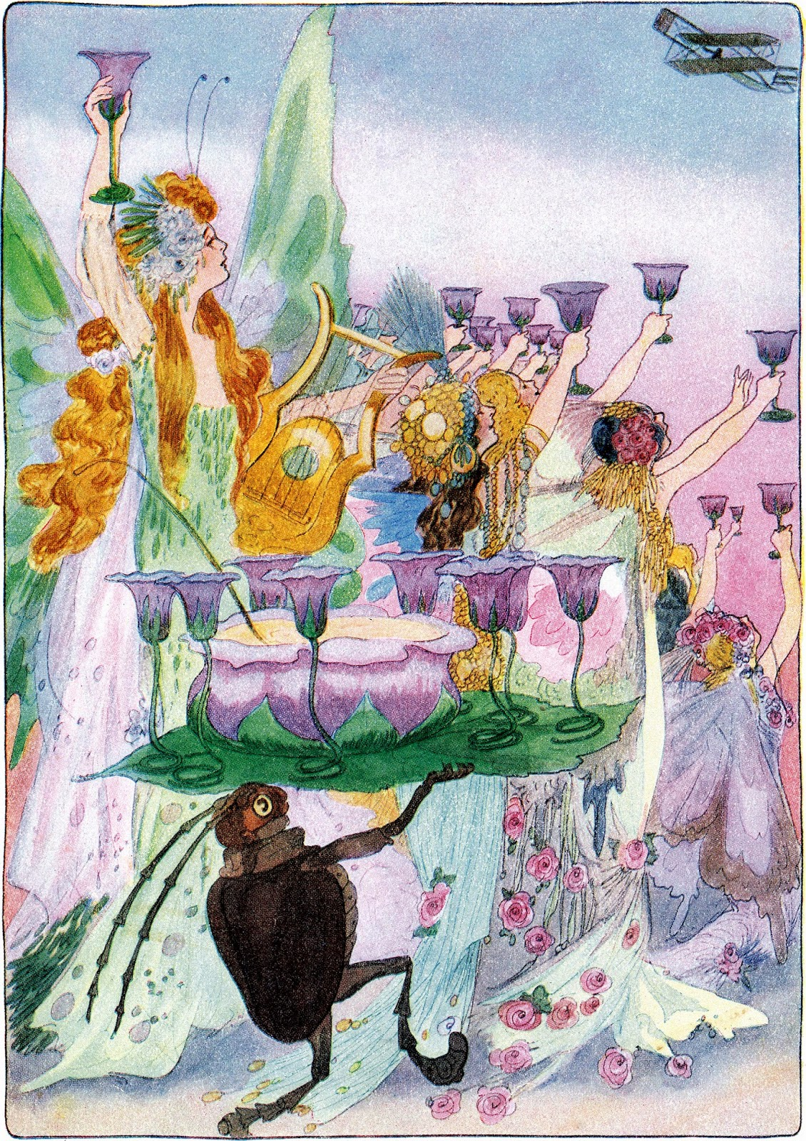 A party of fairies toasting a plane