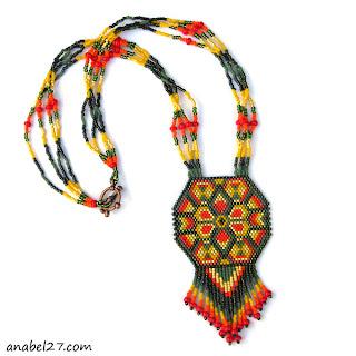 украшение на шею в стиле хиппи купить индейское этно украшение из бисера