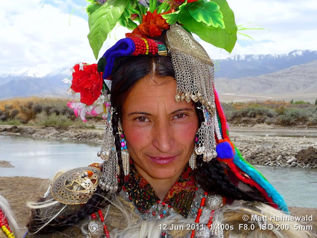 people, portrait, street portrait, Northern India, Ladakh, Ladakhi woman, traditional costume, headdress, silver jewellery, headshot, Facing the World, © Matt Hahnewald