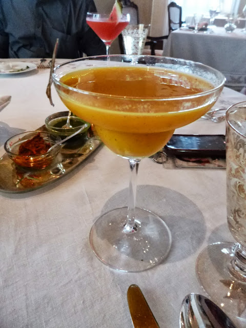 Mango cocktail at Falaknuma Palace