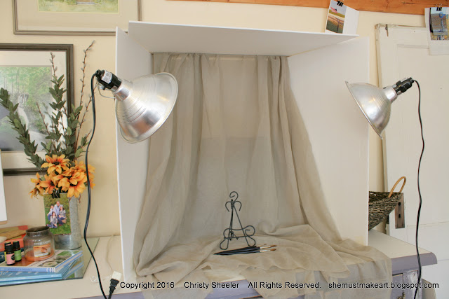 Photography booth for photographing artwork for online listings Christy Sheeler artist