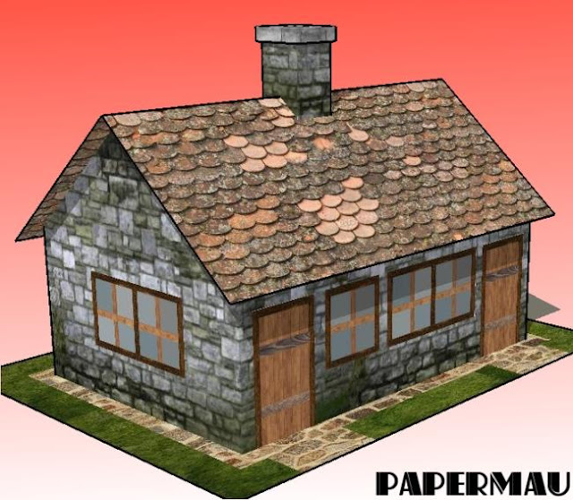 Papermau the brick cabin paper model by papermau for Brick cabin