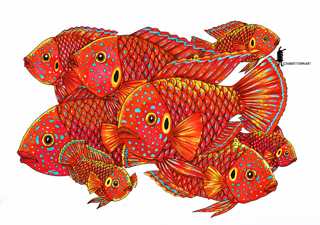 Red Forest Jewel is a type of Cichlid.  Colored in with markers and inked with indian ink by Marta Tesoro aka Rabbit Town Art