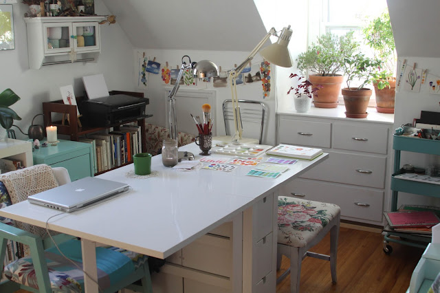 studio, work space, painting table, Anne Butera, My Giant Strawberry