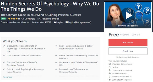 [100% Off] Hidden Secrets Of Psychology - Why We Do The Things We Do| Worth 199,99$