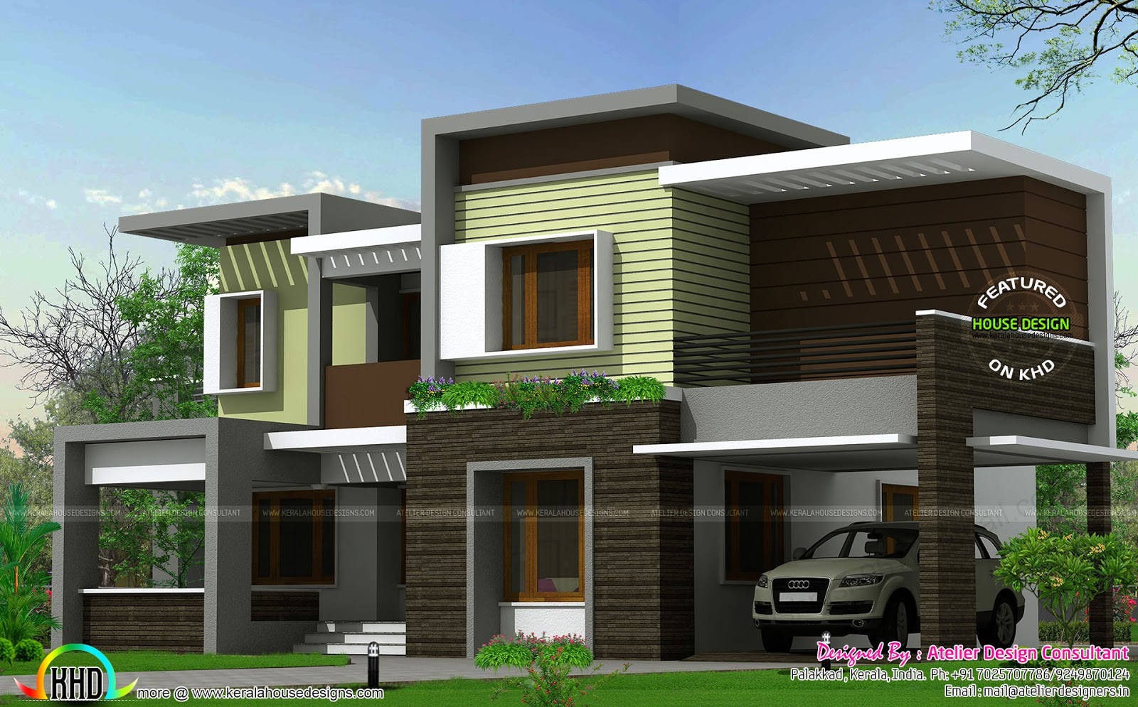 Modern box type house 2425 sq ft kerala home design and for Modern kerala style house plans with photos