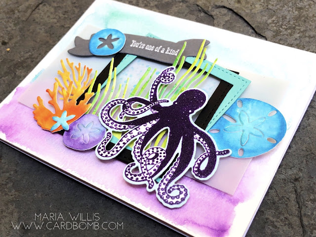 #cardbomb, #stampinup, #cards, #watercolor, #seaoftextures, #octopus, #stamps, #ink, #paper, #stamping, #art, #ocean,