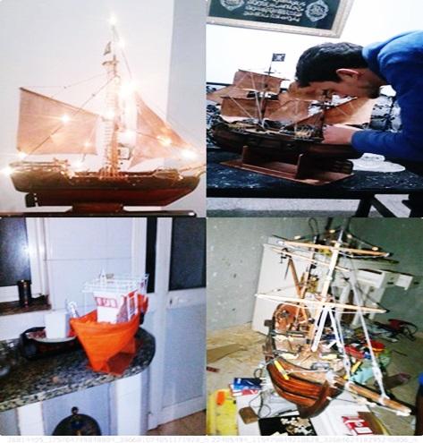 ابداعات طاهر شاب اصيل رفراف الشاطىء يمتلك موهبة يدوية جعلته يبدع في نحت الخشب و صناعة سفن مصغرة