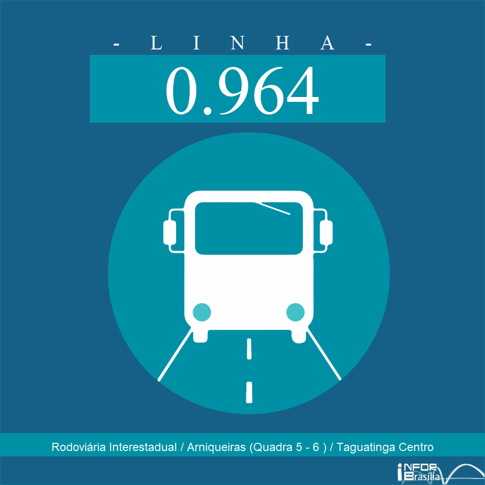 Horário de ônibus e itinerário 0.964 - Rodoviária Interestadual / Arniqueiras (Quadra 5 - 6 ) / Taguatinga Centro