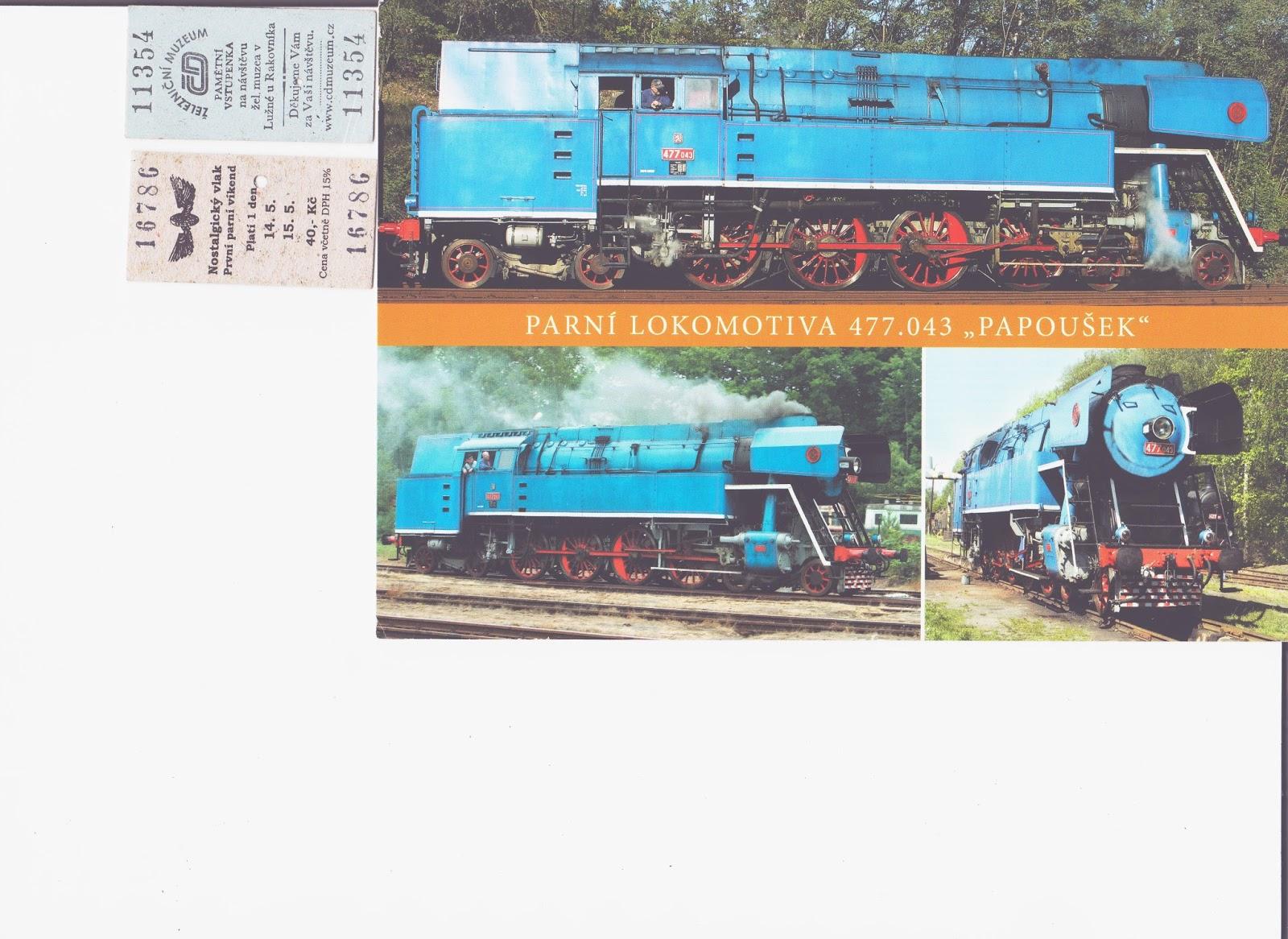 Památeční jízdenky a pohled s lokomotivou  98c49b10ff