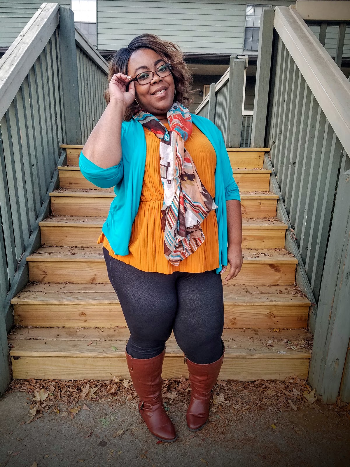 jewel tones, teal, mustard, jeggings, fall boots, scarf, pleats, peplum, thick thighs