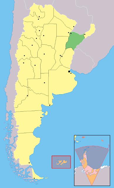 Mapa de localização da província de Corrientes - Argentina