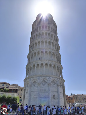 Leaning Tower of Pisa with Lens Flair