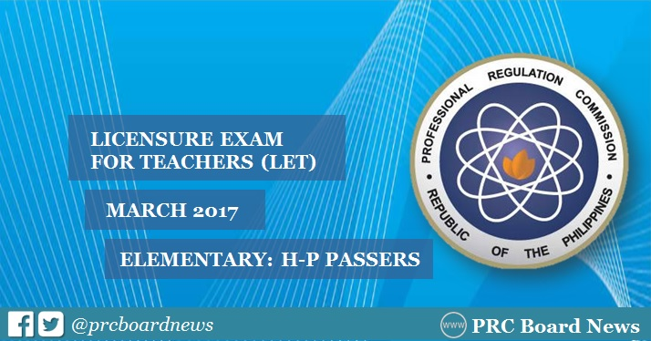 March 2017 LET Results: H-P List of Passers Elementary