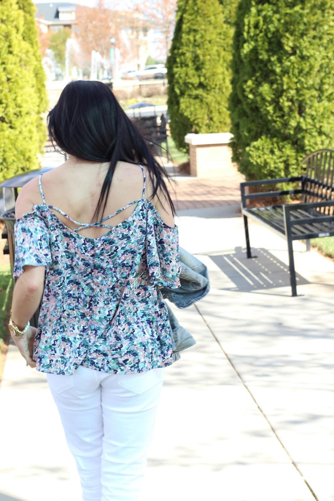 Floral Cold Shoulder, White Skinnies and Denim for Spring
