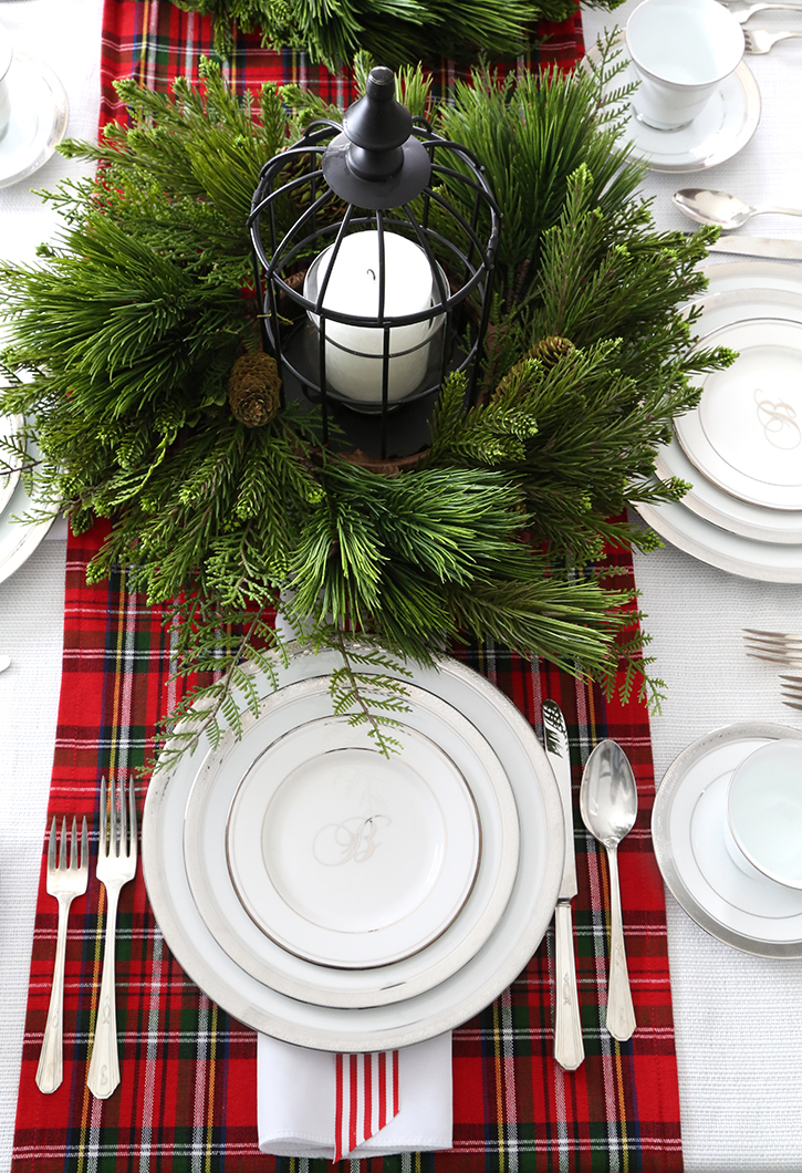 A Holiday Tablescape with Tartan and Pine