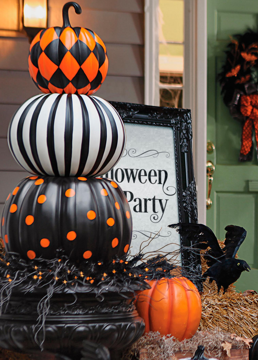 Grandin Road Halloween Stacked Patterned Pumpkins