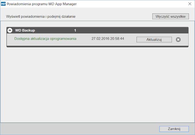Aktualizacja aplikacji WD Backup