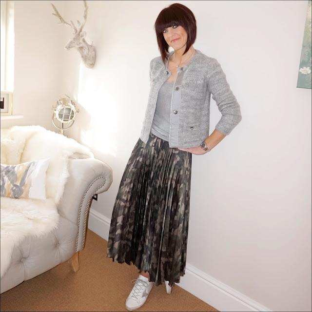 My Midlife Fashion, grey knitted boucle jacket, finery grey vest top, asos pleated midi satin camouflage skirt, golden goose superstar low top leather trainers