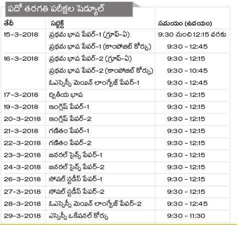 time schedule table