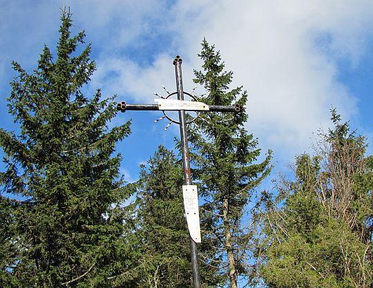 Krzyż z resztkami poszycia samolotu, który rozbił się na Policy 2 kwietnia 1969 roku.