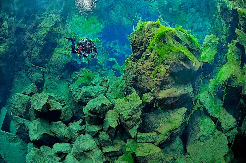 The Silfra crack or fissure is a rift that is part of a divergent tectonic boundary located between the North American and Eurasian tectonic plates.