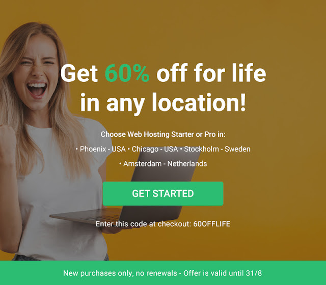 Only a few days left - 60% off for life on Web Hosting in all locations