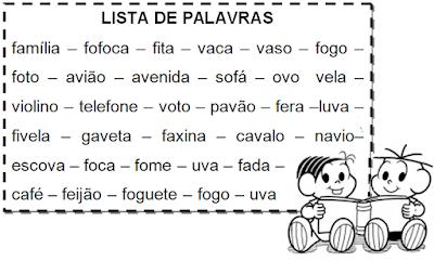 Lista de palavras com F e V