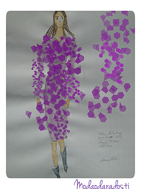 Illustrating a Catwalk Look From Stella McCartney Spring/Summer 2018 Collection (Fashion illustration of the Day: Watercolour)